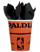 NBA Spalding™ Pappbecher 18 Stück orange-schwarz 266 ml