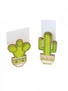 Kaktus-Holzklammern 2 Stück grün-braun 6 x 3 x 1,5 cm