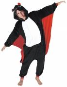 Niedliches Fledermaus-Kostüm für Erwachsene Halloween-Kostüm schwarz-rot-weiss