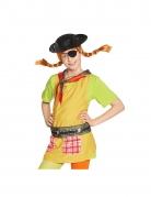 Pippi-Langstrumpf™-Piraten-Set für Kinder 4-teilig Faschingsaccessoire schwarz-rot