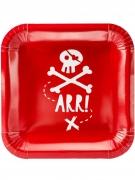 Piraten-Pappteller 6 Stück rot-weiss 20 cm