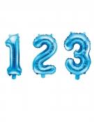 Zahlen-Luftballon Aluminium-Ballon 0-9 blau 35 cm