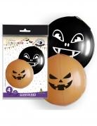 Riesige Halloween-Ballons Luftballon-Set mit Grusel-Motiven 4-teilig orange-schwarz 47cm