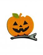 Kürbis-Haarklammer Halloween-Accessoire schwarz-orange 5 x 5 cm