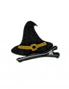Hexenhut aus Filz Halloween-Accessoire schwarz-gold 5x5 cm