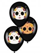 Tag der Toten-Luftballons Halloween-Deko 6 Stück schwarz-bunt 28 cm