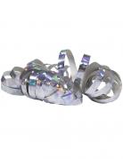 Glänzende Party-Luftschlangen 2 Stück holographisch silber jeweils 4m