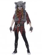 Werwolf-Kostüm für Mädchen Halloween-Kostüm grau-rot