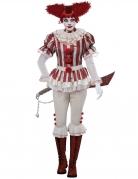 Killerclown-Kostüm für Damen Halloween-Horrorclown weiss-rot