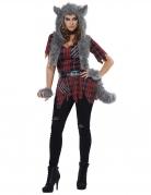 Werwolf-Kostüm für Damen Halloween-Kostüm rot-grau