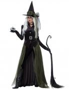Gothic-Hexenkostüm für Damen Halloween-Kostüm grün-schwarz