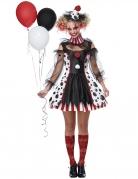 Psycho-Clown-Kostüm für Damen Halloween-Kostüm schwarz-weiss-rot
