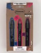 Schminkstifte Make-up für Karneval oder Halloween 3 Stück blau-rosa-lila