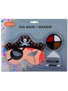Piraten-Schmink-Set mit Augenmaske Faschings-Make-up bunt