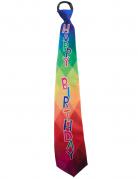 Happy Birthday Krawatte für Erwachsene Geburtstag-Zubehör bunt