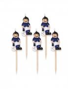 Fussballer-Kerzen auf Spiessen Kuchendeko 5 Stück blau-weiss 8cm