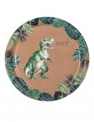 Dino-Pappteller Partyzubehör 8 Stück grün-braun 23 cm