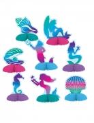 Meerjungfrauen-Papierdekorationen 8 Stück bunt 7 - 10 cm