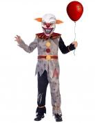 Horror-Clown-Kostüm für Jungen Halloween-Kostüm grau-rot-weiss