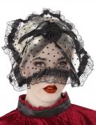 Gothic-Haarreif mit Schleier Spitzen-Muster schwarz