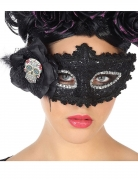 Día de los Muertos-Augenmaske Halloween-Maske schwarz-silber
