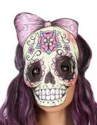 Día de los Muertos-Maske für Damen im Zeichenstil Halloween bunt