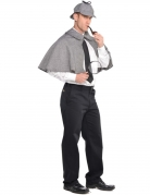 Englischer Detektiv Accessoire-Set für Herren Pelerine und Mütze grau