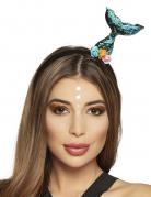 Meerjungfrauen-Haarreif Schwanzflosse Fasching Accessoire türkis