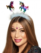 Einhorn-Haarreif mit Pailletten Karneval-Haarschmuck bunt