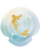 Meerjungfrau-Pappteller blau-gold