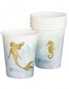 Traumhafte Meerjungfrauen-Pappbecher 6 Stück weiß-blau-goldfarben 250 ml