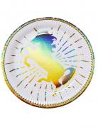 Einhorn-Pappteller 6 Stück bunt 23 cm