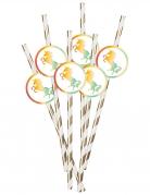 Einhorn-Strohhalme Einhorn-Partyzubehör 6 Stück gold-weiß-bunt 20 cm