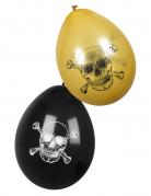 Piraten-Luftballons Jolly Roger 6 Stück goldfarben-schwarz 25 cm