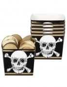 Piraten Snackboxen Jolly Roger 6 Stück schwarz-weiß-goldfarben 400 ml