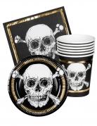 Piraten-Geschirrset für 6 Personen 3-teilig Partydeko schwarz-weiss