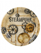 Steampunk-Pappteller 6 Stück braun-grau 23 cm