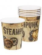 Steampunk-Trinkbecher Partydeko 6 Stück braun 250 ml