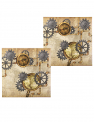 Steampunk-Papierservietten 12 Stück braun-grau 33 x 33 cm