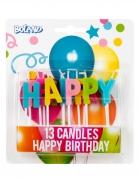 Happy Birthday-Kuchenkerzen 13-teilig bunt