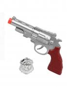 Polizei-Pistole mit Polizeimarke silber