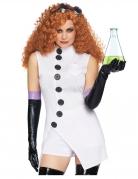 Verrückte Wissenschaftlerin Damenkostüm Halloweenkostüm weiss-schwarz