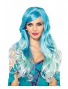 Gewellte Meerjungfrauen-Perücke lang blau-weiss