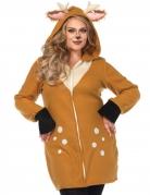 Reh-Kostüm für Damen in Übergröße Deluxe-Kostüm braun-beige
