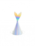 Meerjungfrauen-Partyhüte Flosse 6 Stück bunt 18cm