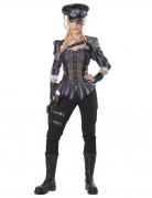 Steampunk-Kostüm für Damen Steampunk-Offizier 8-teilig grau-schwarz