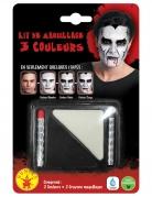 Schminkset Vampir Halloween-Make-up schwarz-weiss
