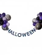 Girlande mit Ballons Halloween-Deko 27 teilig lila-schwarz-weiß