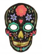 Día de los Muertos-Pappmaske Halloween-Maske schwarz-bunt 19x28 cm