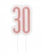 Glitzer-Geburtstagskerze 30 weiss-rosa